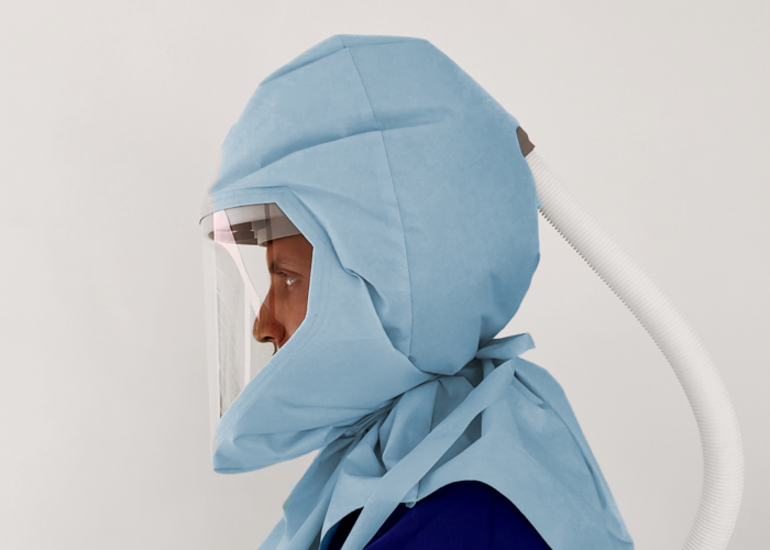 zoomed image of papr ultrahood visor side view